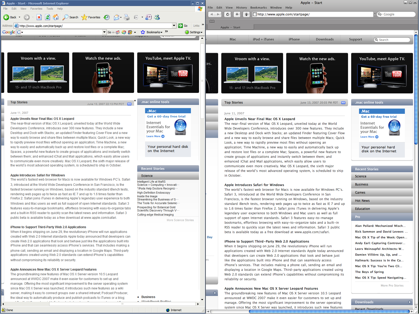 Internet Explorer 6 and Safari 3 Beta (Windows)